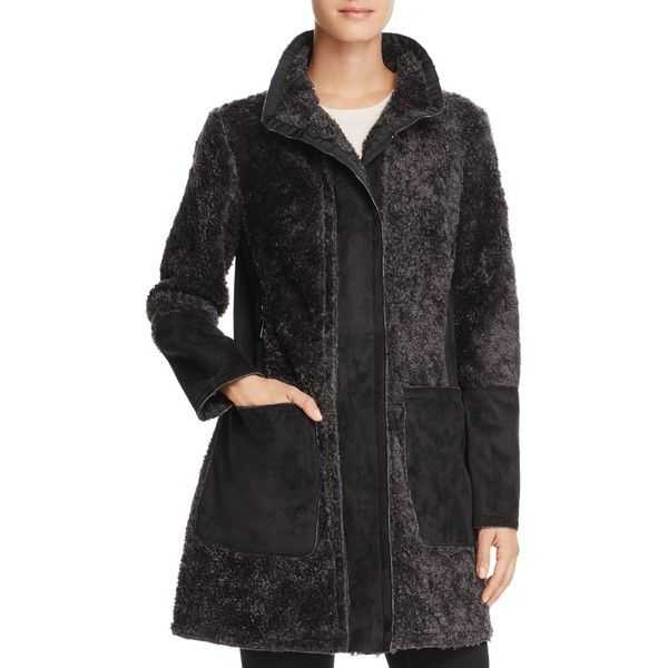 Vince Camuto Faux Shearling Coat ($340) ❤ liked on Polyvore featuring outerwear, coats, slate, sherpa coat, vince camuto, vince camuto coats and faux shearling coat