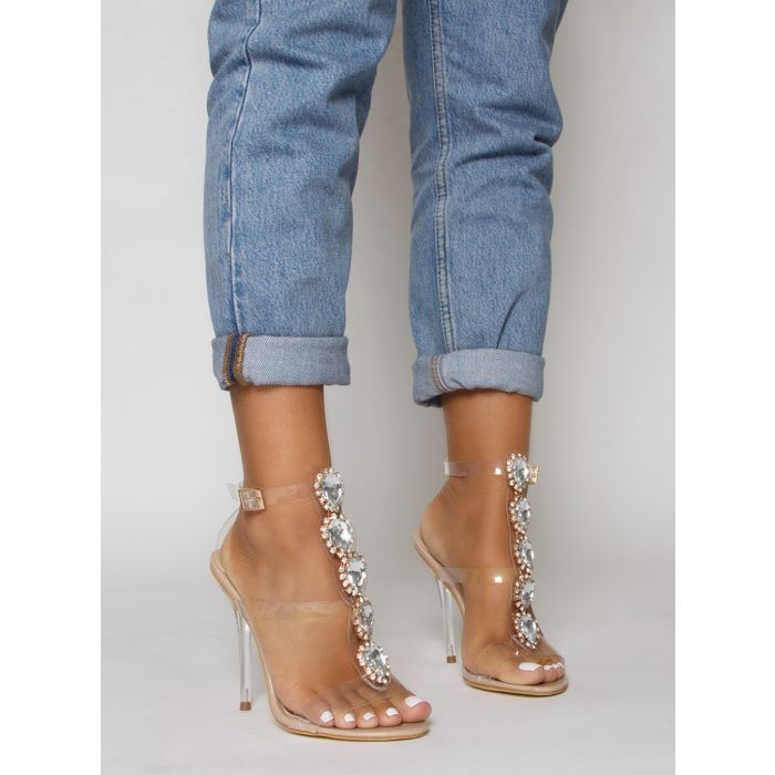 cfa498a66c Jasmine Nude Gem Clear Stiletto Heels in 2019 | shoes | Stiletto ...