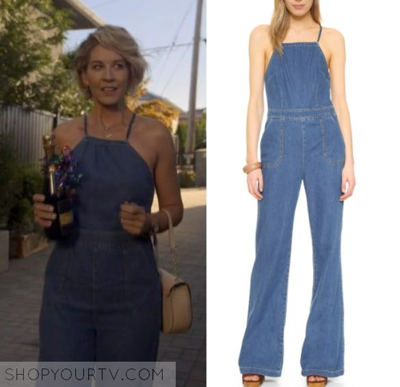 """Imaginary Mary: Season 1 Episode 5 Alice's Denim Jumpsuit   Shop Your TV Alice (Jenna Elfman) wears this halter neck denim flared jumpsuit in this episode of Imaginary Mary, """"In a World Where Worlds Collide"""".  It is the PAIGE + Rihannon Jumpsuit."""