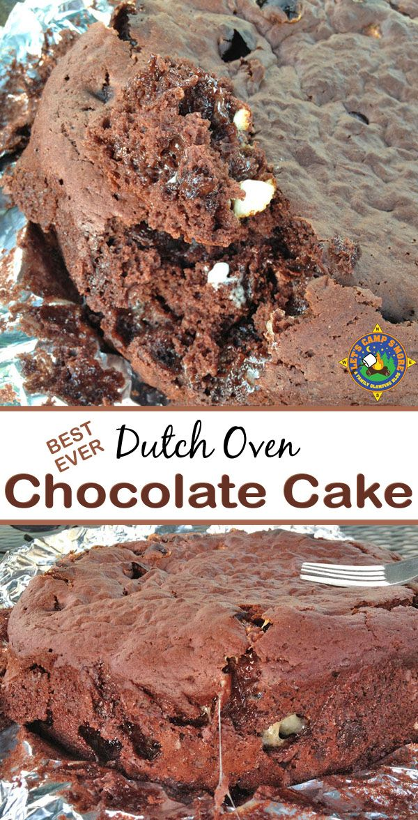 Best Ever Dutch Oven Chocolate Cake Recipe - Need a great camping dessert recipe? This Chocolate Cake recipe is made using a cake mix and baked in the dutch oven. It is magnificent! It's the perfect camping dessert recipe.