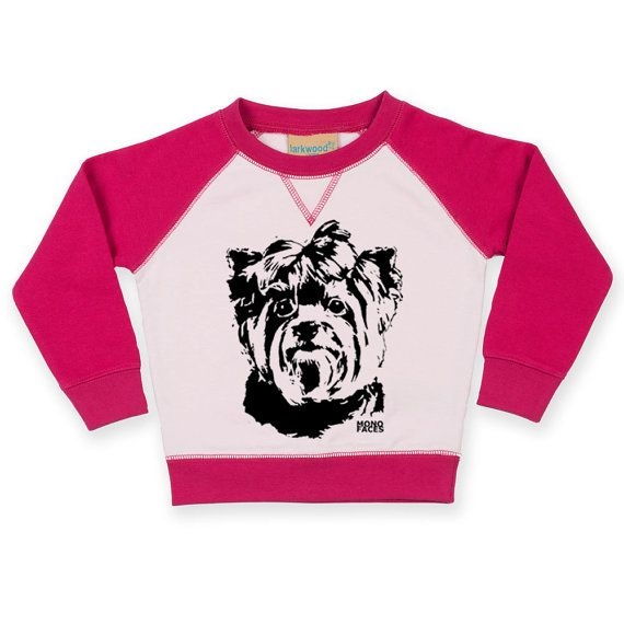 Yorkshire Terrier Baby Sweatshirt Yorkie Toddler Jumper / Snuggle your little one with this cozy contrast raglan sweatshirt so they wear a sweatshirt with their favourite Yorkshire Terrier dog.  LISTING INCLUDES: Larkwood unisex baby and toddler contrast raglan sweatshirt with Yorkshire Terrier print.