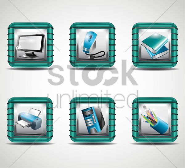 set of office icon vector graphic
