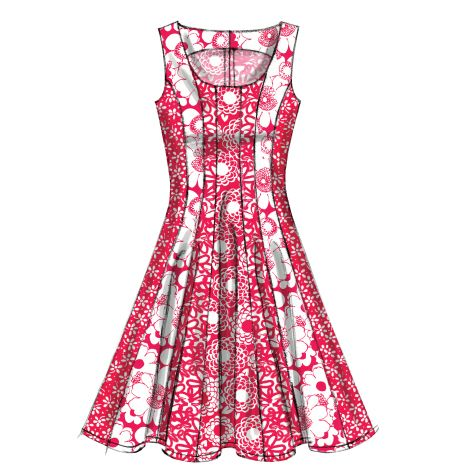 M6504- Semi-fitted and flared dresses have hemline variations, back zipper and narrow hem. #mccalls #nowtrending #dress