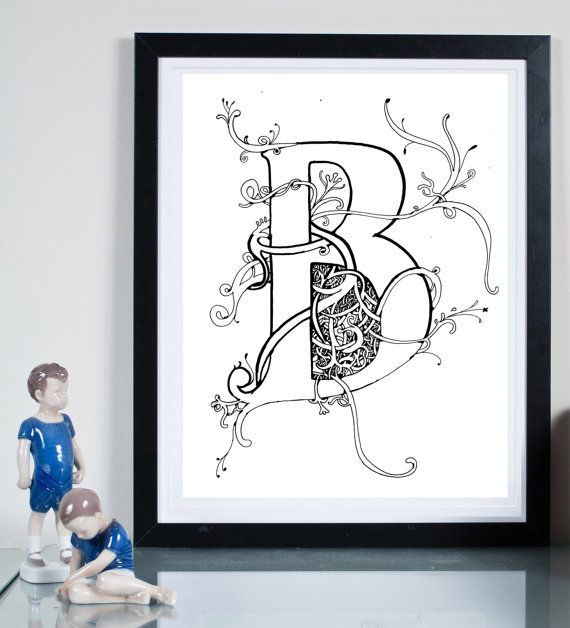 B Monogram  ... Illustration art giclée print signed by Tomek Wawer, #tomasz wawer #alphabet B #initial B
