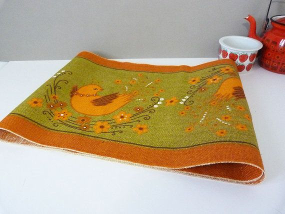 Vintage 1970's Swedish scandinavian table runner by planetutopia