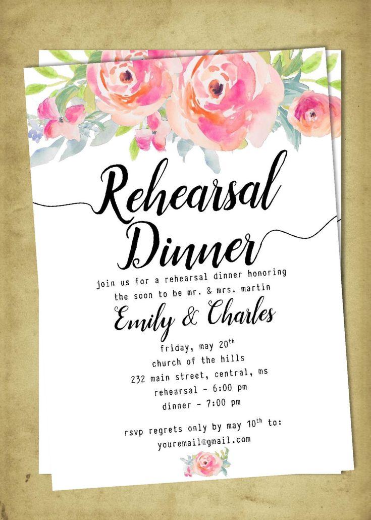 DIY Printable Wedding Rehearsal and Dinner Invitation | Customizable | Peonies | Bridesmaid Brunch by PerfectedbyGrace on Etsy