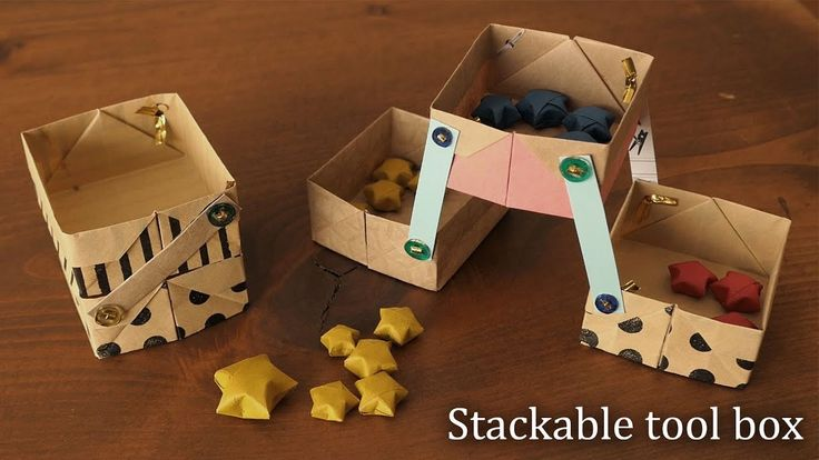 工具箱みたいな箱!折り紙と割りピンで作れる★Stackable tool box【Origami Tutorial】