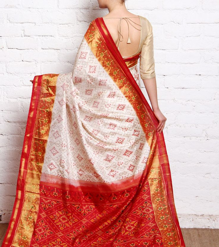 Off White & Red Patola Silk Saree With Zari Border