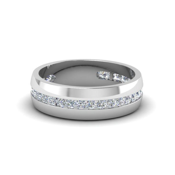 Mens Wedding Rings with White Diamond in 14K White Gold | Diamond Channel Set Mens Engagement Ring | Fascinating Diamonds