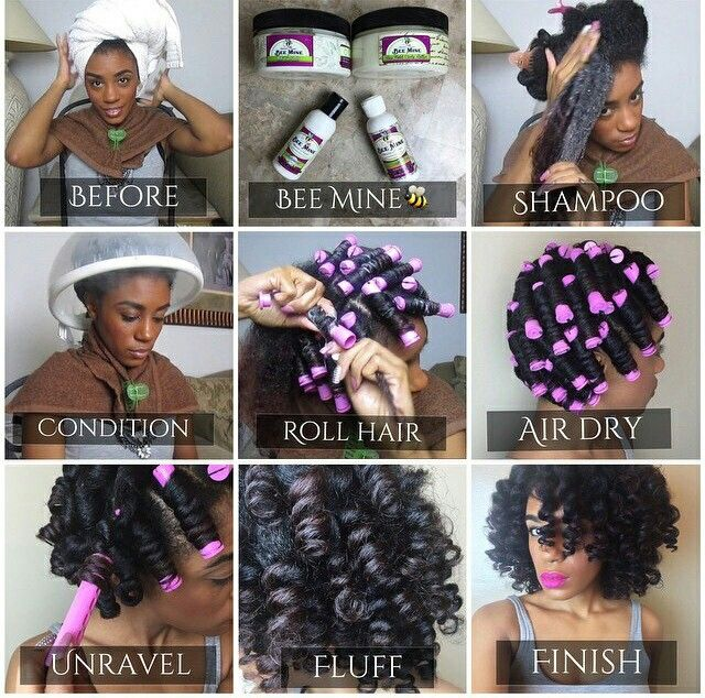 Perm rods, curls on natural hair