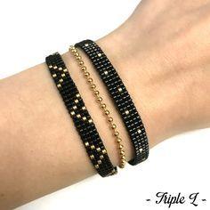 J'ai déjà fait des bracelets multirangs mais plutôt larges (2,5 cm). Et je n'avais pas pensé à en faire des plus fins jusqu'à ce que je prenne des embouts de 1,6 cm de large chez …