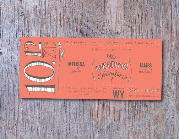 DEPOSIT Coral Rustic Wedding Invitation, 8.5x3.66, Kraft Paper Open End Envelope, Handlettered, Custom