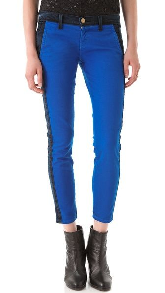 Current/Elliott The Harvest Tux Trouser Jeans: The black panels on the sides add a fresh take on classic skinny jeans.