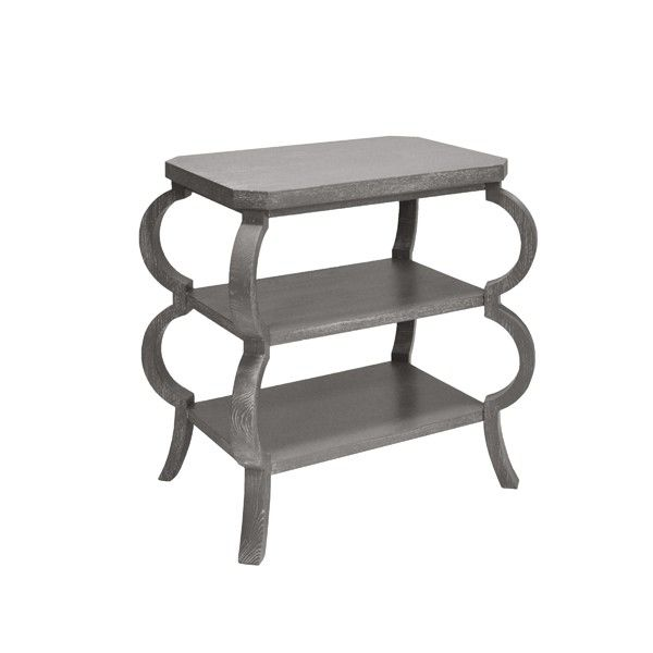 Worlds Away Olive Three Tier Side Table In Grey Cerused Oak Olive Gco Round Side Table Modern Side Table Table