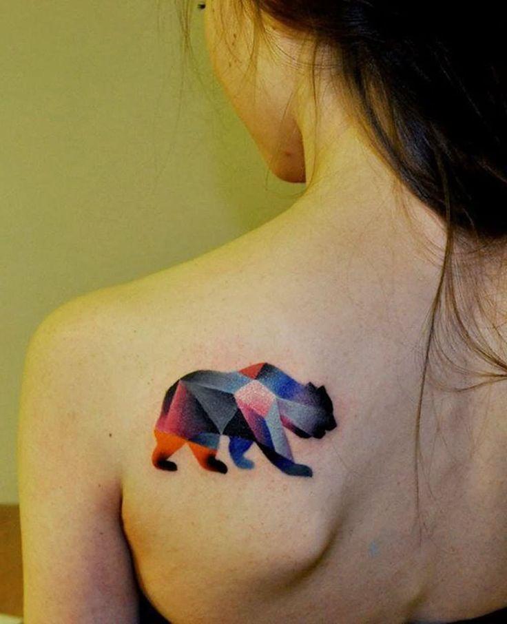 Watercolor Geometric Bear Tattoo For Girls