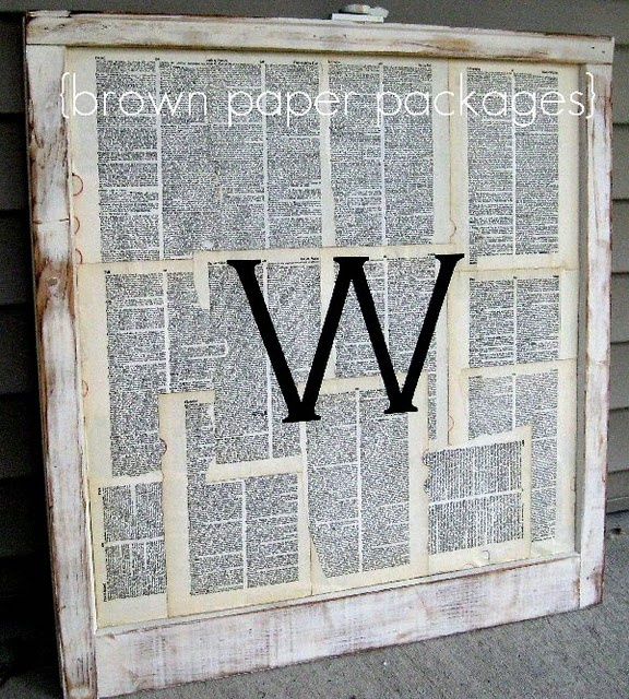 this would be amazing with favorite bible verses high lighed!Old Book Pages, Monograms Windows, Windows Ideas, Old Windows Frames, Windows Panes, Old Windows Art, Bible Verse, Crafts, Brown Paper Packaging