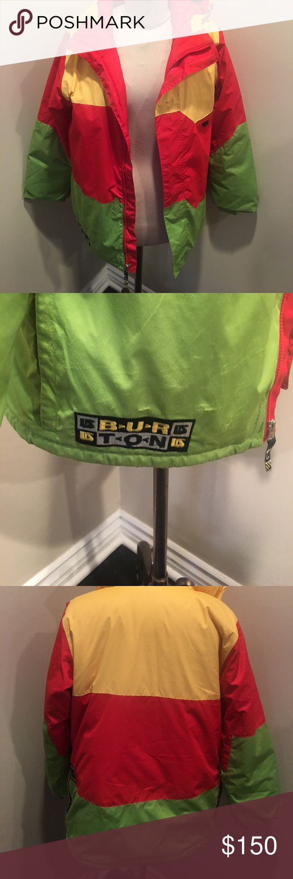 Men burton snowboarding jacket Bright colorful men burton snowboarding jacket. Wore a few times. Have button to clip onto your snowboarding pants Burton Jackets & Coats Ski & Snowboard