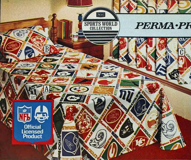 National Football League (NFL) Sheets, Sears 1975 Fall Catalog