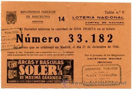 Participación *LOTERÍA NACIONAL Sorteo Navidad* año 1946 - Nº33182 -- Mingitorios Públicos Barcelona