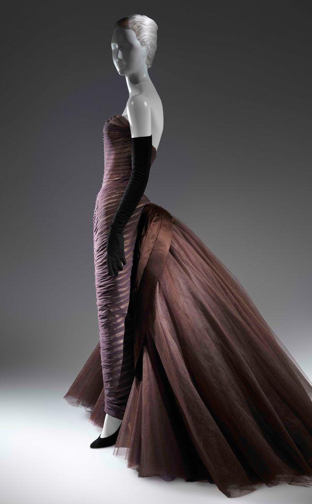 """Butterfly"" Ball Gown, ca. 1955 from Charles James: Beyond Fashion Exhibit  Brown silk chiffon, cream silk satin, brown silk satin, dark brown nylon tulle"