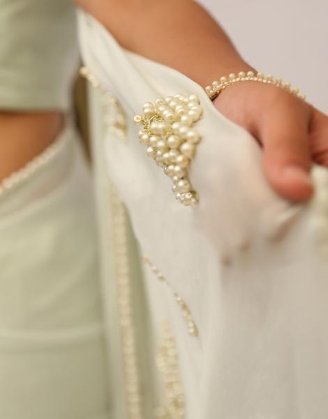 Pearl Embellished Icy Mint Pure Chiffon Saree