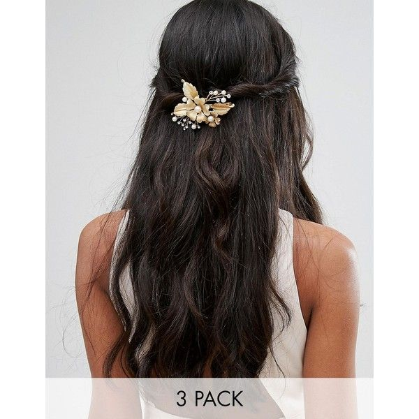 Her Curious Nature Trio of Gold and Pearl Flower Hair Clips (59 AUD) ❤ liked on Polyvore featuring accessories, hair accessories, gold, floral hair accessories, gold hair clips, pearl hair accessories, hair clip accessories and gold flower hair clip