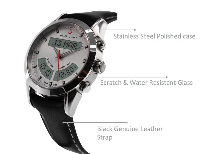 Alfajr WA-10L Stainless Steel Azan Prayer Watch - For Men