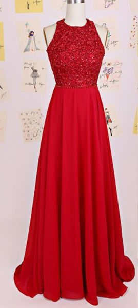 2016 Pretty Red Open Back Long Chiffon Prom Dresses,High Low Simple Cheap Evening Dresses For Teens from 21weddingdresses | High Low, Dress Party and Red High