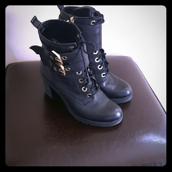 guess all leather combat stacked heel boot combat boots