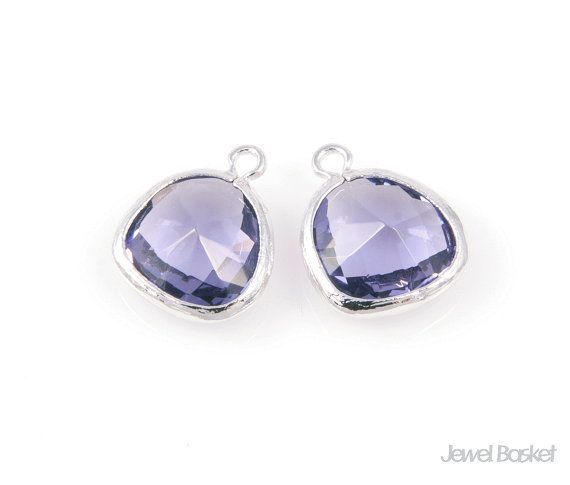 SPUS001-P (2pcs) / Purple Color and Silver Framed Glass Pendent / 13mm x 16mm  - Highly Polished Silver Frame (Tarnish Resistant) - Purple Color Glass - Brass and Glass / 13mm x 16mm - 2pcs / 1pack