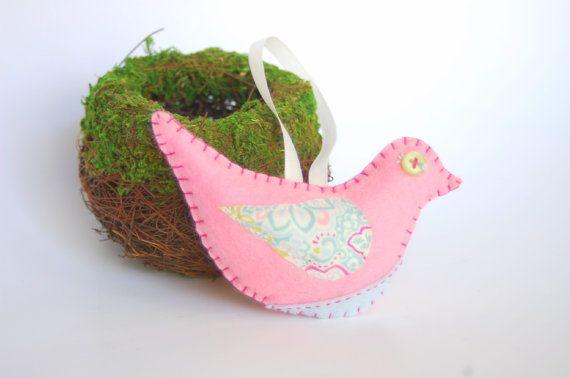 Felt Bird Ornament, Wool Felt Pink Bird, Tree Ornament, Hanging Bird, Stuffed Bird, Bird Holiday Ornament,  Felt Animal Decoration