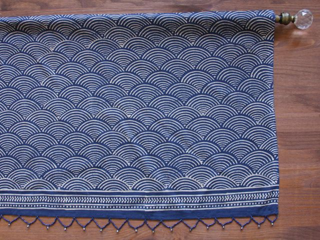 Rustic Navy Blue window Valance, Asian Insipired Valance, Oriental Valance Window Treatment