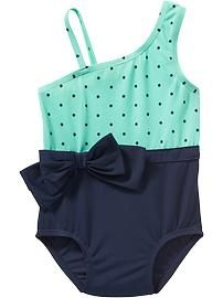 One-Shoulder Swimsuits for Baby... cute, but not good for potty-training.