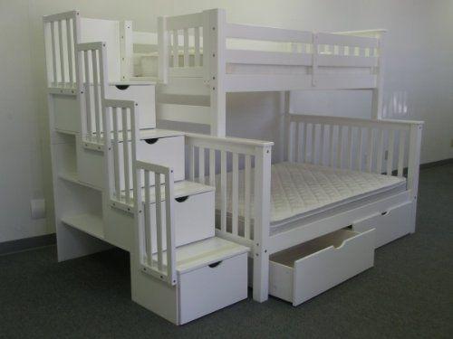 Amazon Com Bedz King Twin Over Full Stairway Bunk Bed