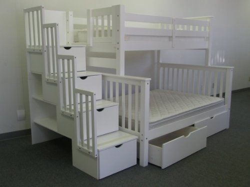 Amazon.com - Bedz King Twin Over Full Stairway Bunk Bed with 2 Under Bed Drawers, White - Loft Bed $1015