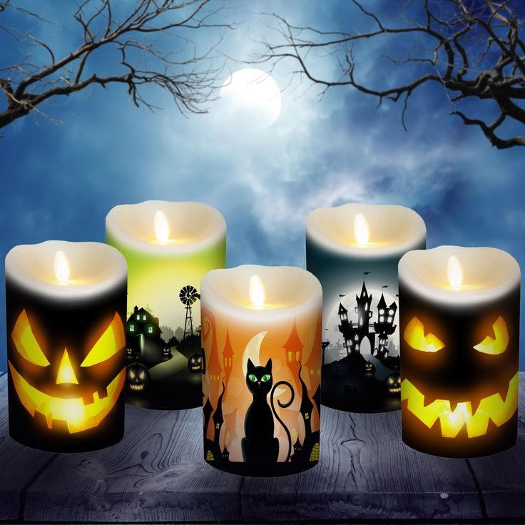 Customize your Luminara Candles for Halloween with decorative candle wraps.