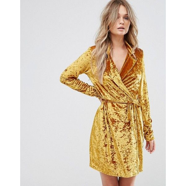 Club L Crushed Gold Velvet Wrap Dress (295 CNY) ❤ liked on Polyvore featuring dresses, gold, v neck camisole, wrap maxi dress, party dresses, gold bodycon dress and gold party dress