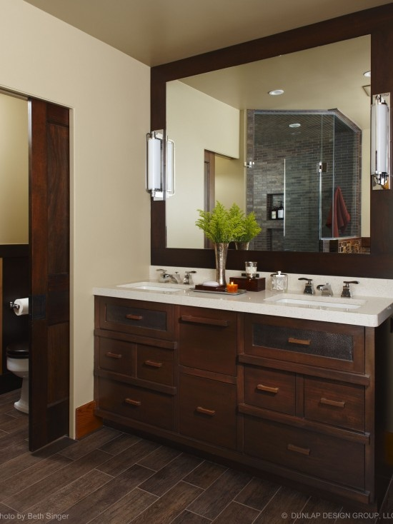 Guest Bathroom Dark Tile Floors With Dark Cabinets And