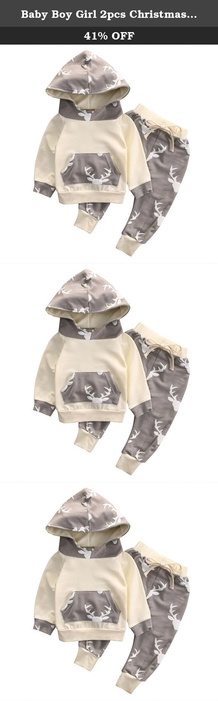 Baby Boy Girl 2pcs Christmas Suit Hoodies Deer Print Long Sleeve Top+Long Pants (6-12months, Beige). There is 2-3% difference according to manual measurement. Please note that slight color difference should be acceptable due to the light and screen. SIZE Chart 0-3months Top Length 31cm Bust 52cm Pants Length 44cm 3-6months Top Length 33cm Bust 55cm Pants Length 47cm 6-12months Top Length 35cm Bust 57cm Pants Length 50cm 12-18months Top Length 37cm Bust 60cm Pants Length 53cm .