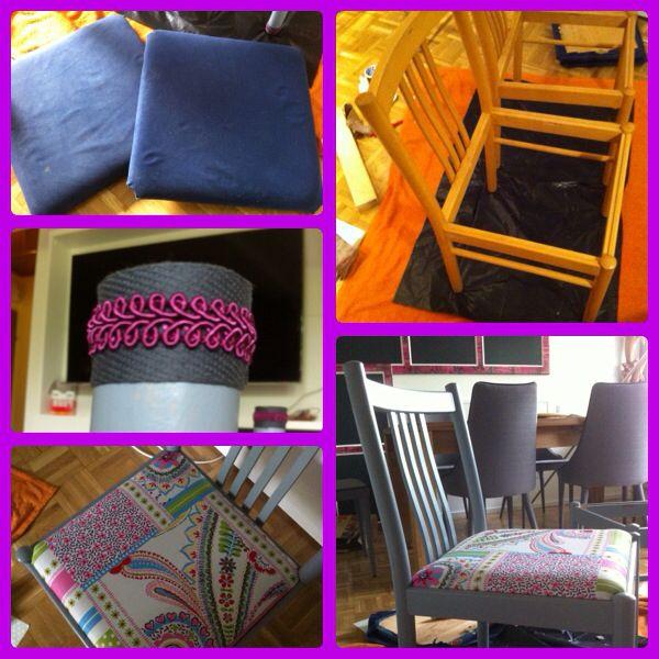 Aus Alt mach Neu - Stuhl lackiert und neu bezogen