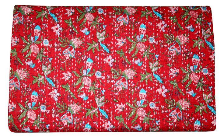 Handmade Kantha Quilt Vintage Bedspread Throw Cotton Blanket Gudari.. #Unbranded #ArtDecoStyle