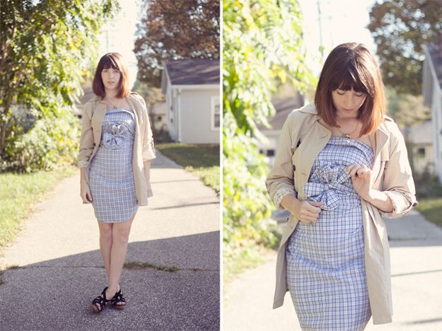 Take a men's button-down shirt and turn it into a dress, no cutting or sewing required. | 31 Easy DIY Projects You Won't Believe Are No-Sew