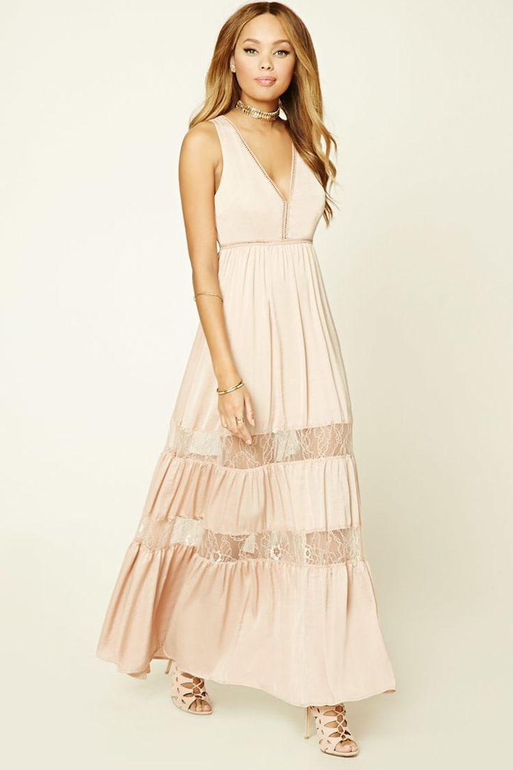 Satin Ladder-Cutout Maxi Dress