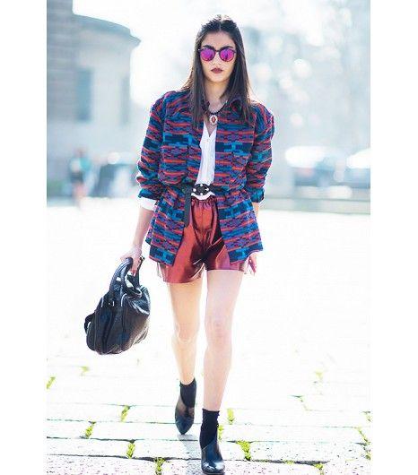 13. Metallic Shorts and Sunglasses + Printed Jacket + Black Belt