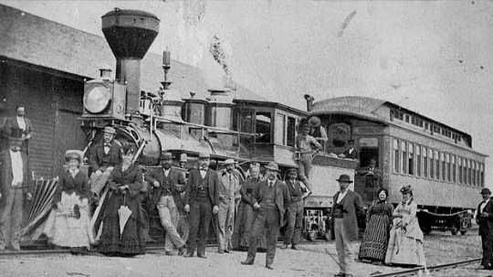 St. Paul and Pacific Railroad officials and guests at Breckenridge, 1873. Photo: Minnesota Historical Society collections.