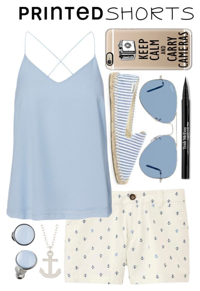 """""""Anchors Away! ⚓️"""" by sewing-girl ❤ liked on Polyvore featuring Soludos, Uniqlo, Vero Moda, Kris Nations, Casetify, Skagen, Ray-Ban, Trish McEvoy and printedshorts"""