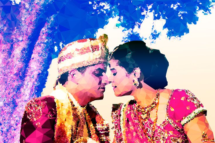 Ami & Ajai. A beautiful Indian wedding, rendered into a gorgeous, crystalline-style work of modern art. Over 26,000 triangles make up this collage. I work with coupoles all over the world to give them a unique keepsake of their most special day. For pricing or more information, or to place an order, visit my website: http://wearehalfhill.com/work/weddings/
