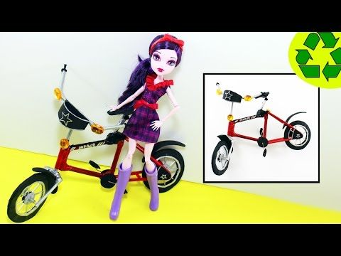 How to make a DOLL BICYCLE USING PENCILS for Barbie & Monster High - Doll Crafts - YouTube
