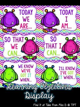 Display your learning objectives with this bright and colourful pack!  Includes; 1) Today we are... 2) Today I am... 3) So that we can... 4) So that I can... 5) We know we've got it when... 6) I'll know i've got it when...