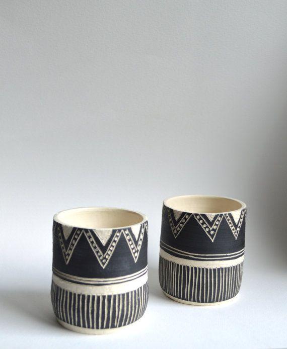 B L A C K S T O N E : set of ceramic tumblers on Etsy, €31,71